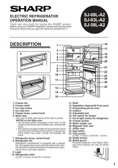 sj-68l-a2 sj-63l-a2 sj-58l-a2 electric refrigerator