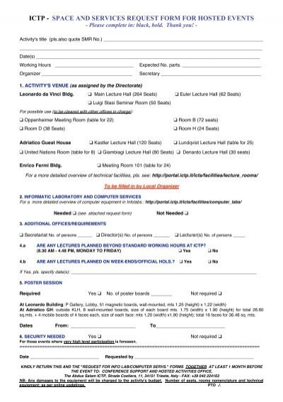 space and services request form for hosted events - ICTP