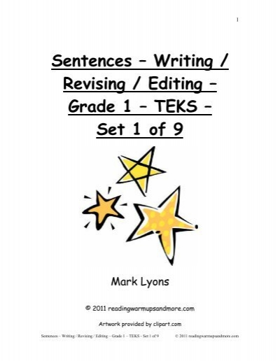 Sentences – Writing / Revising / Editing – Grade 1