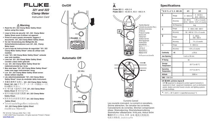 Fluke 321 and 322 digital clamp meter user manual