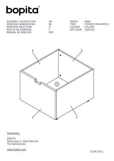 Notice de montage du tiroir ā roulettes Mix and Match L Bopita