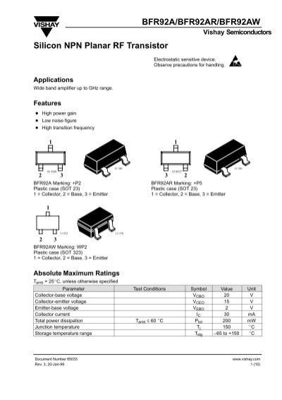 BFR92A/BFR92AR/BFR92AW Silicon NPN Planar RF Transistor