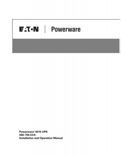 Powerware 9315 UPS 500-750 kVA Installation and