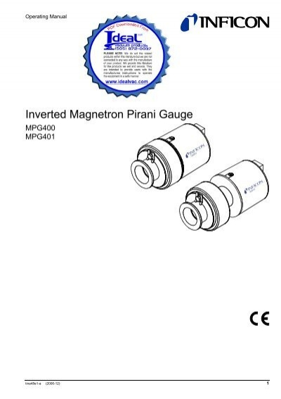 INFICON MPG 400 Inverted Magnetron Pirani Cold Cathode Gauge