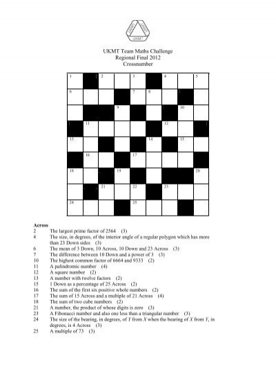 UKMT Team Maths Challenge Regional Final 2012 Crossnumber