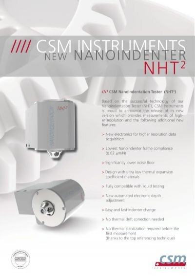 Table Top Nanoindentation Tester TTXNHT 2   CSM
