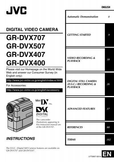 digital video camera gr-dvx707 gr-dvx507 gr-dvx407 gr