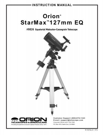 Orion StarMaxâ ¢ 127 EQ Telescope Instruction Manual (PDF
