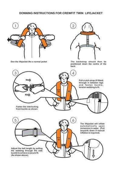 Donning life jacket instructions