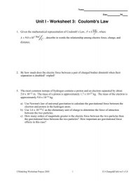 Coulombs Law Worksheet Photos - Roostanama