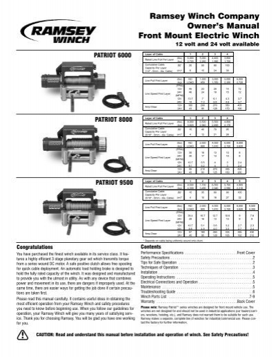 Ramsey Winch Company Owner's Manual Front Mount