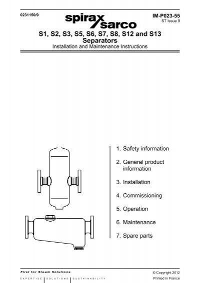 S1, S2, S3, S5, S6, S7, S8, S12 and S13 Separators