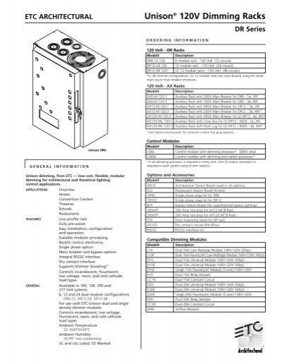 Unison® 120V Dimming Racks DR Series