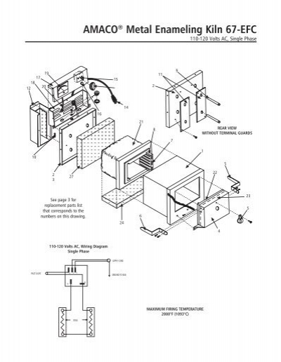 67-EFC Kiln Manual Instructions with parts list and wiring