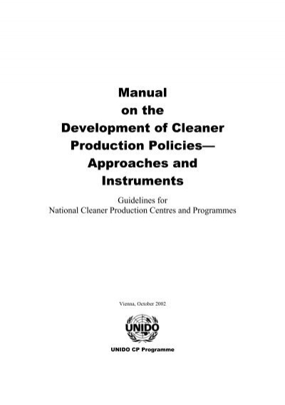 Manual on the Development of Cleaner Production Policies