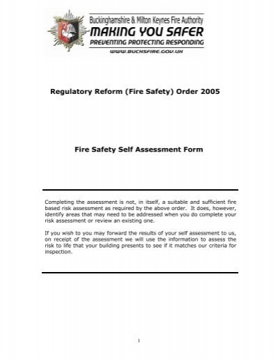 Fire Safety) Order 2005 Fire Safety Self Assessment Form