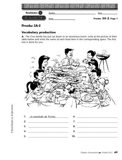 Examen Capítulo 2a Realidades 2 By Sqds Handouts And