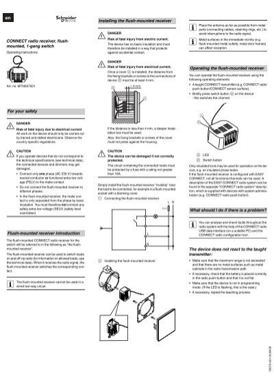 CONNECT radio receiver, flush- mounted, 1-gang switch For