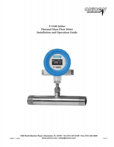 F-5100 Inline Thermal Mass Flow Meter Installation and