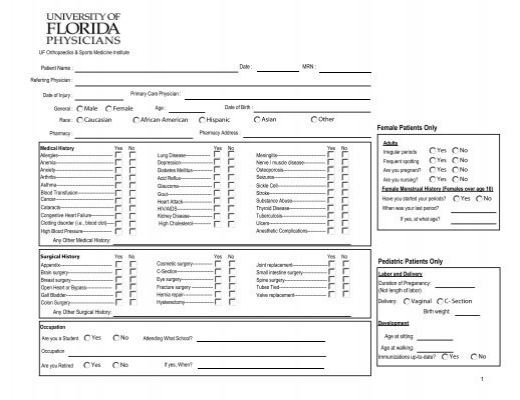 Ortho New Patient Medical History Questionnaire (PDF)