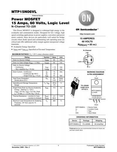 MTP15N06VL Power MOSFET 15 Amps, 60 Volts, Logic Level