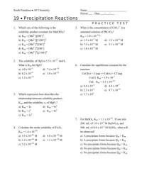 Precipitation Reaction Worksheet. Worksheets. Ratchasima ...