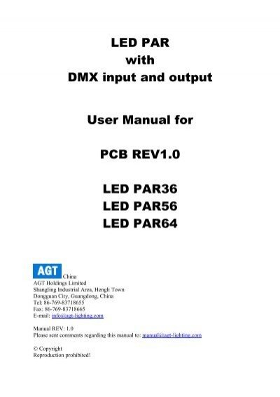 LED PAR with DMX input and output User Manual for
