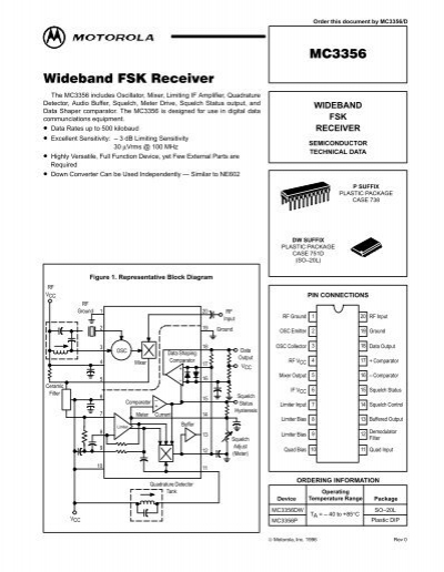 MC3356 Wideband FSK Receiver