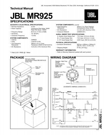 Technical Manual JBL MR925 SPECIFICATIONS