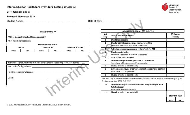 Interim HCP Skills Checklist