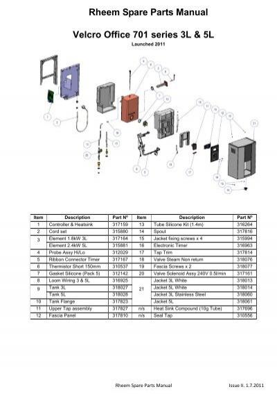 Rheem Spare Parts Manual Velcro Office 701 series 3L & 5L