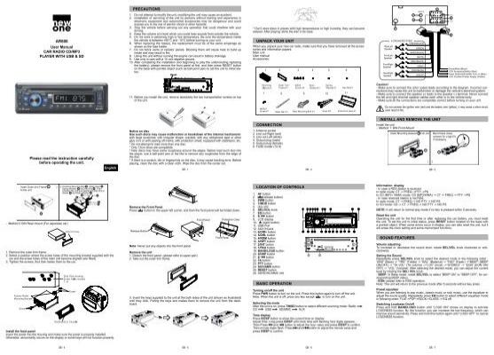 User Manual CAR RADIO CD/MP3 PLAYER WITH USB & SD