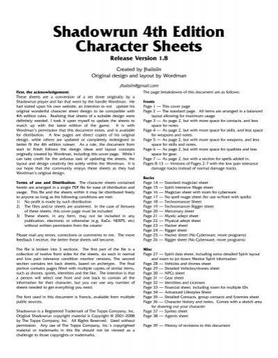 Shadowrun 4th Edition Character Sheets