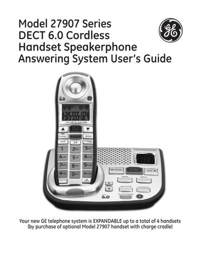 Model 27907 Series DECT 6.0 Cordless Handset Speakerphone