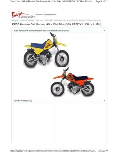 DR50 Hensim Dirt Runner 49cc Dirt Bike (VIN PREFIX LLCH or