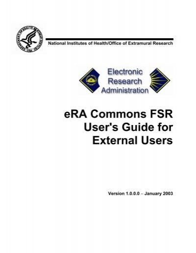 eRA Commons FSR User's Guide for External Users
