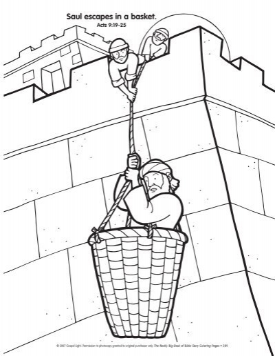Saul escapes in a basket.