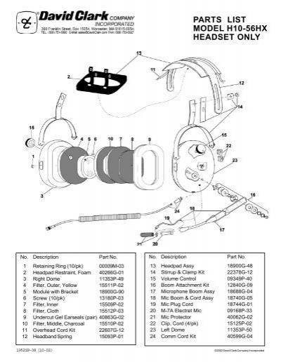 David Clark H10 76 Wiring Diagram David Clark Serial