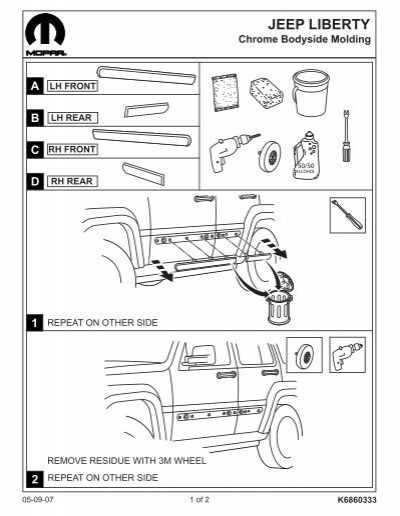 Jeep Liberty Body Side Molding Installation Instructions