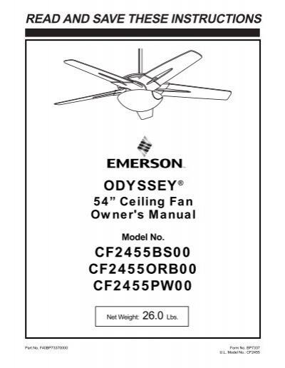 Emerson Odyssey Ceiling Fan Manual