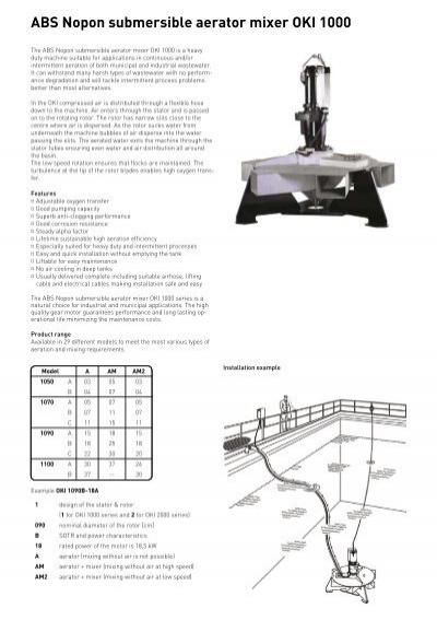 ABS Nopon submersible aerator mixer OKI 1000