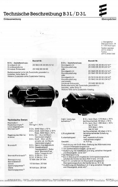 Eberspacher B3L D3L 1990 Heater Technical Description