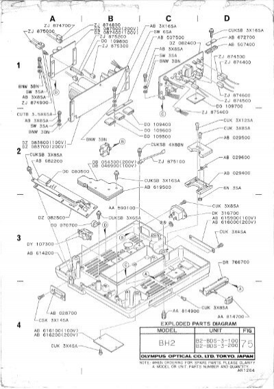 Olympus BH-2 BHS B2-BDS-3 base unit exploded parts diagram