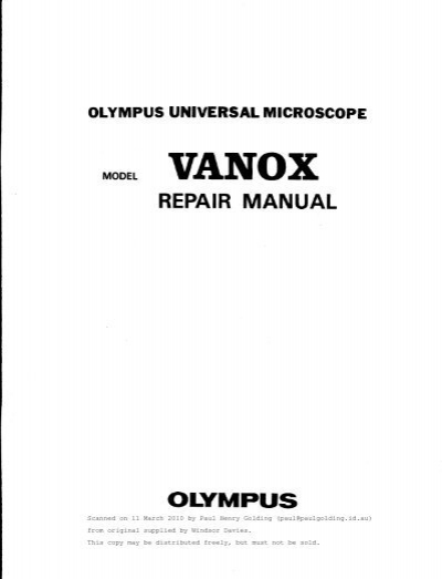 Olympus Universal Microscope VANOX Repair Manual