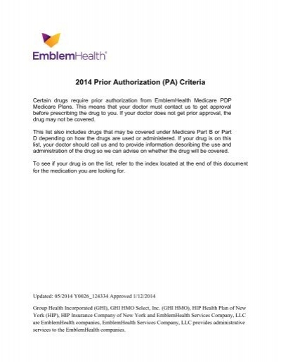 EmblemHealth Medicare Part D Prior Authorization PDP