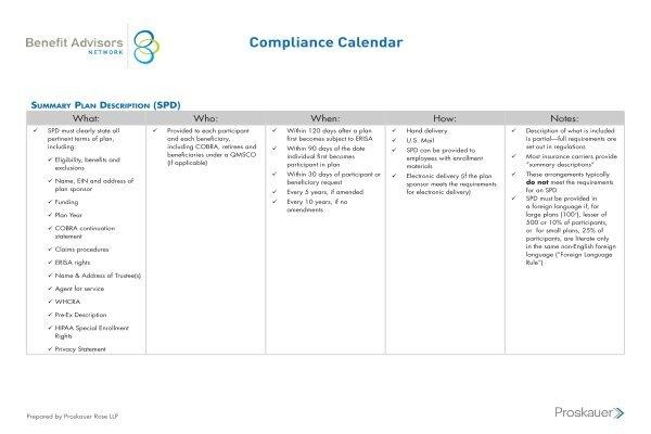 Welfare Plan Compliance Calendar