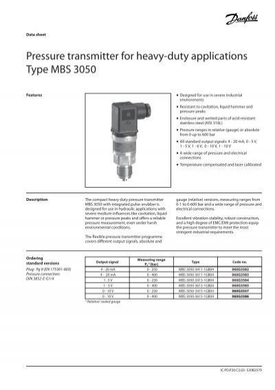 danfoss pressure transmitter mbs 3000 wiring diagram cruise control data sheet pressu