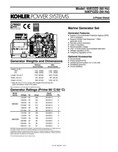 Model: 65EOZD (60 Hz) 50EFOZD (50 Hz) Marine Generator Set