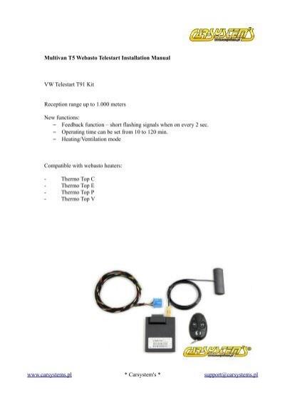 VW Telestart T91 Kit