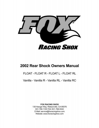 2002 Rear Shock Owners Manual â FOX RACING SHOX